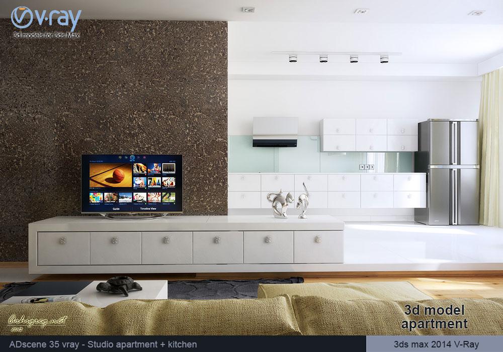 3ds max kitchen design.  3d max Vray model Interior living room and kitchen studio