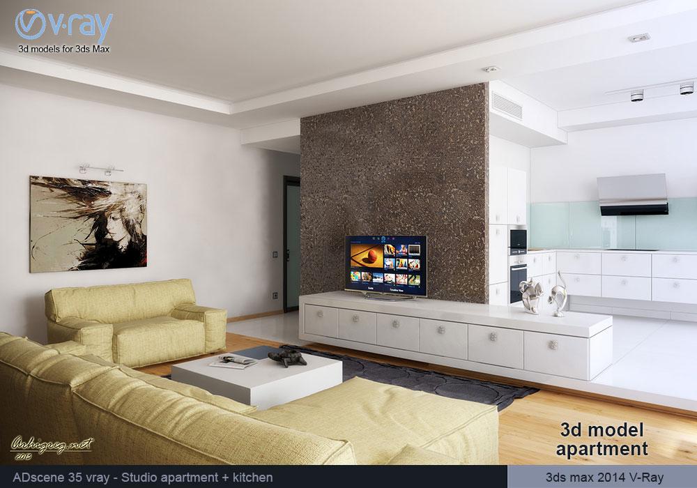 ... 3d модель гостиной, ...