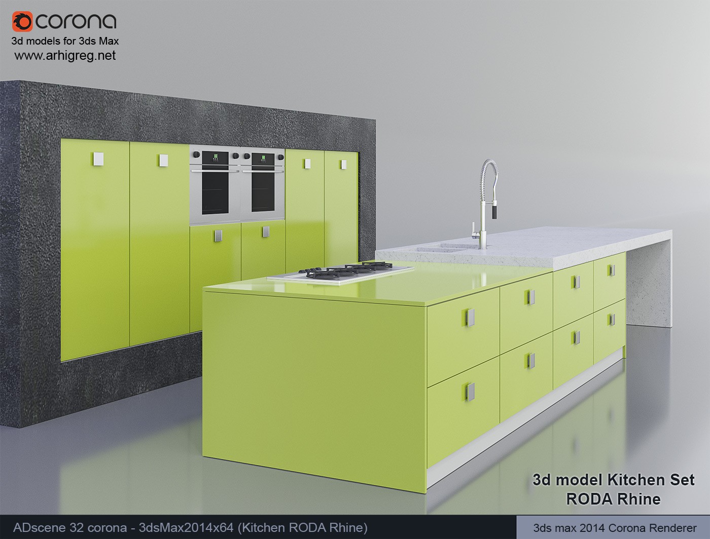 kitchen design 3d model. Download 3d model Kitchen Set view 3 RODA Rhine 3dsMax Corona Renderer ADscene 32 2 jpg