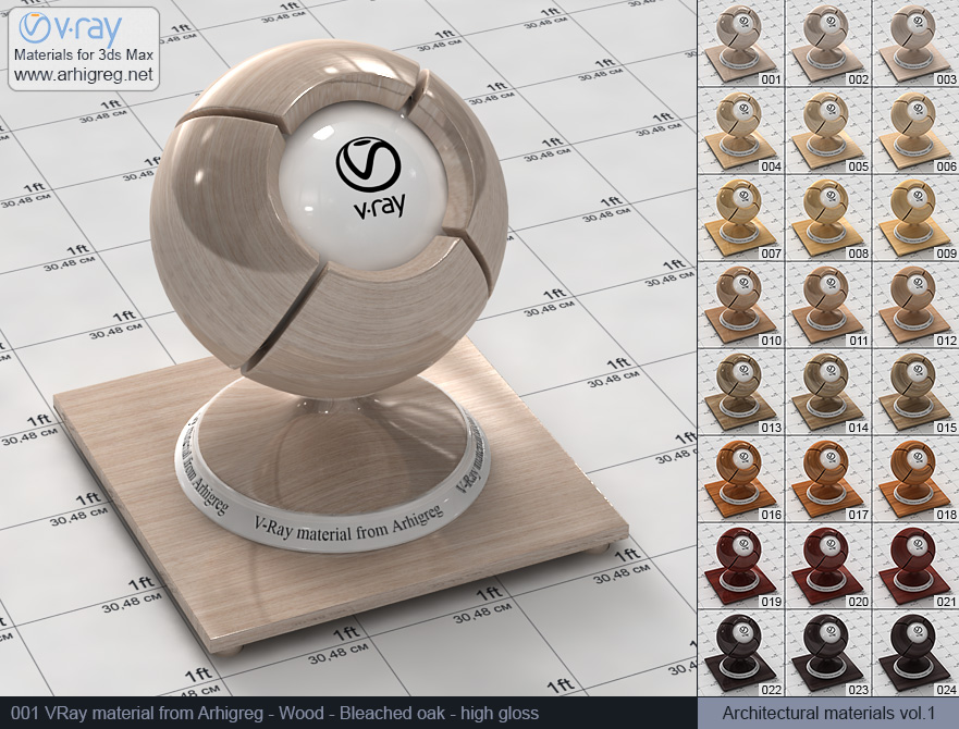 Vray material free download. Wood. Bleached oak high gloss (001)