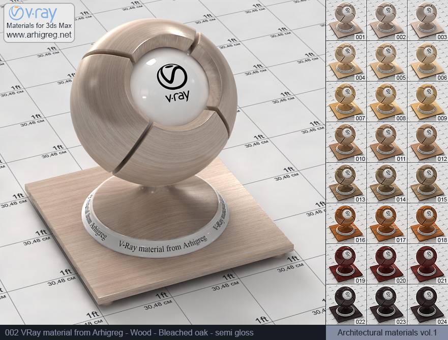 Vray material free download. Wood. Bleached oak semi gloss (002)