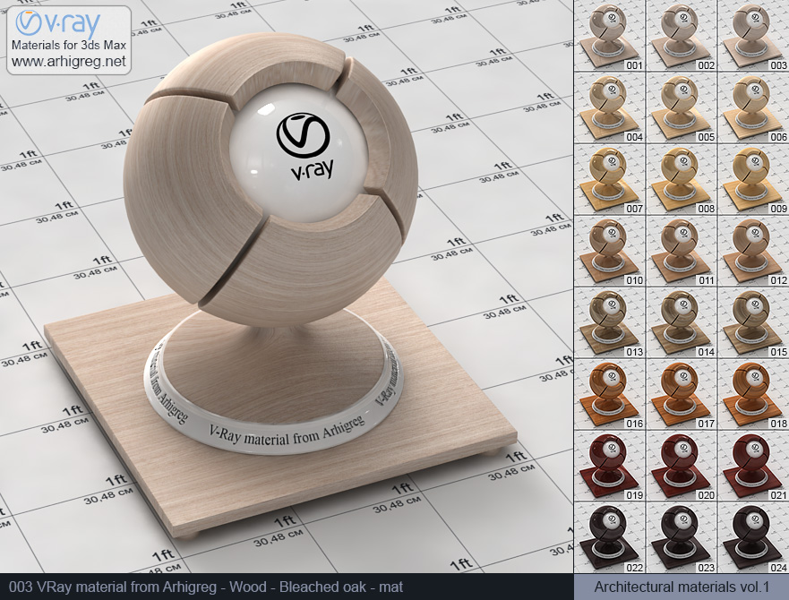 Vray material free download. Wood. Bleached oak mat (003)