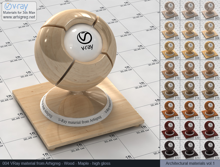 Vray material free download. Wood. Maple high gloss (004)