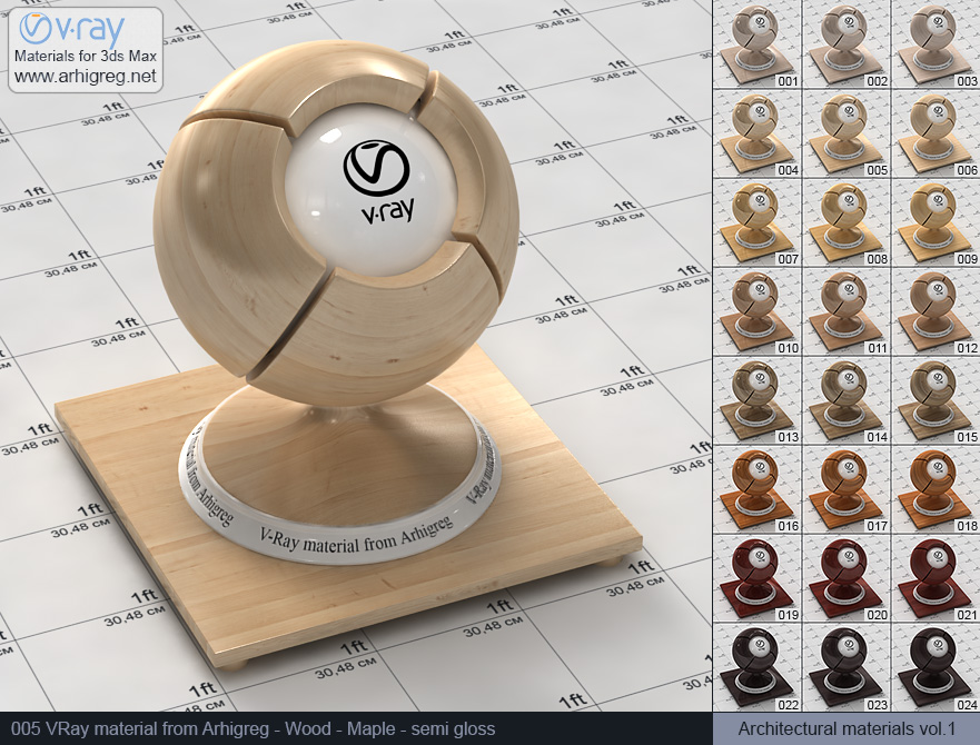 Vray material free download. Wood. Maple semi gloss (005)