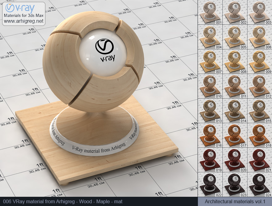 Vray material free download. Wood. Maple mat (006)