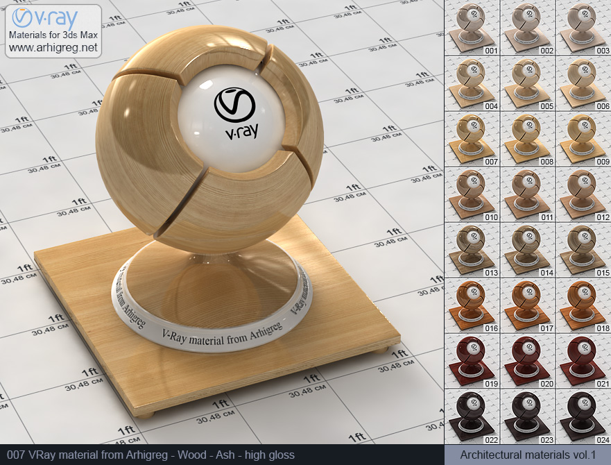 Vray material free download. Wood. Ash high gloss (007)