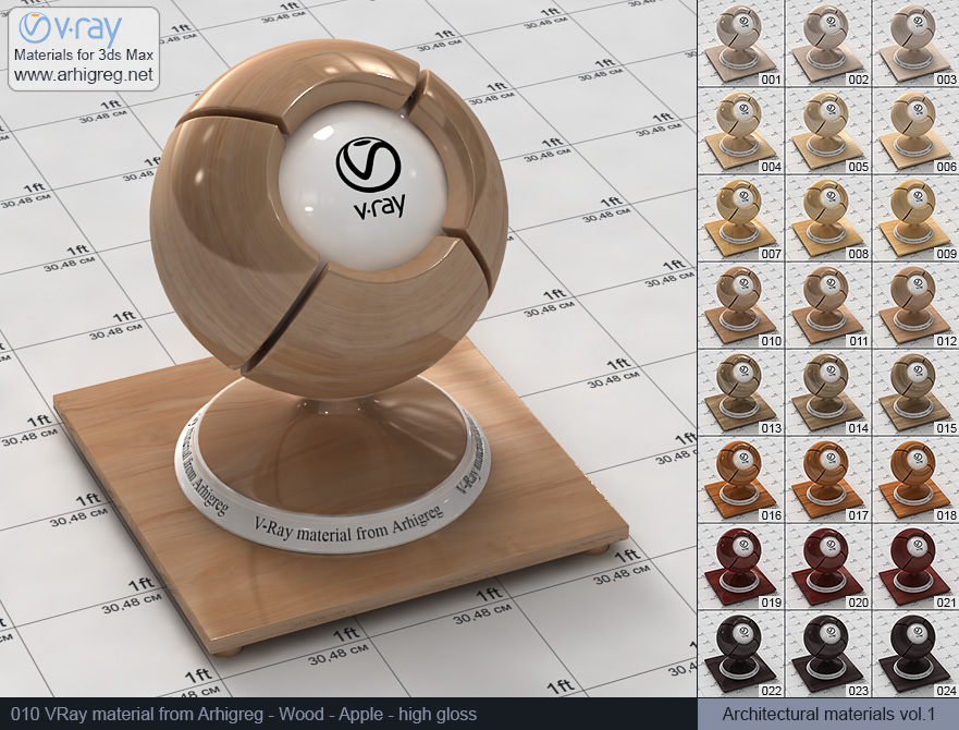 Vray material free download. Wood. Apple high gloss (010)