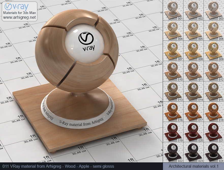Vray material free download. Wood. Apple semi gloss (011)