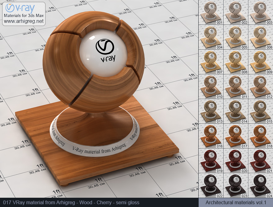 Vray material free download. Wood. Cherry semi gloss (017)