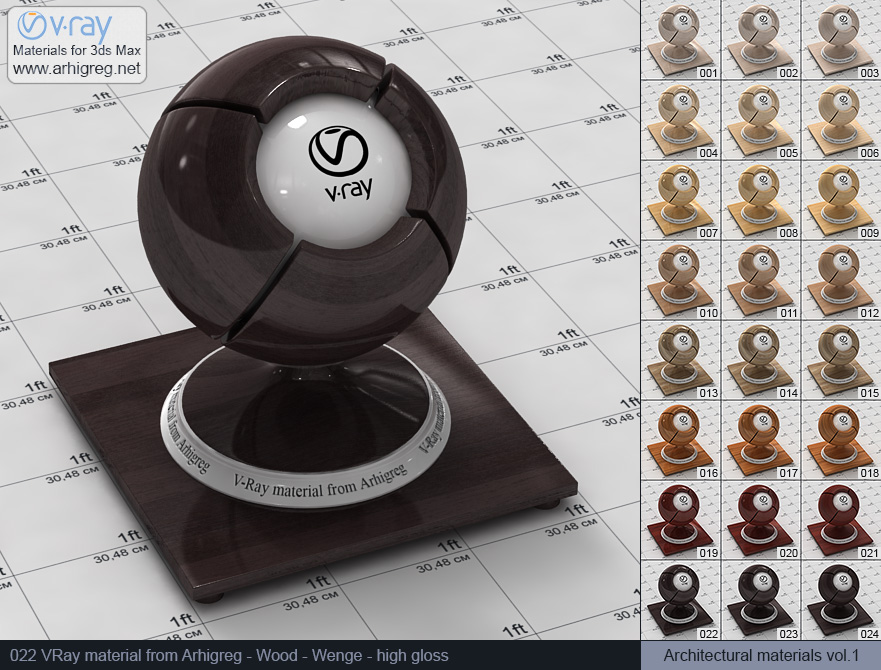 Vray material free download. Wood. Wenge high gloss (022)