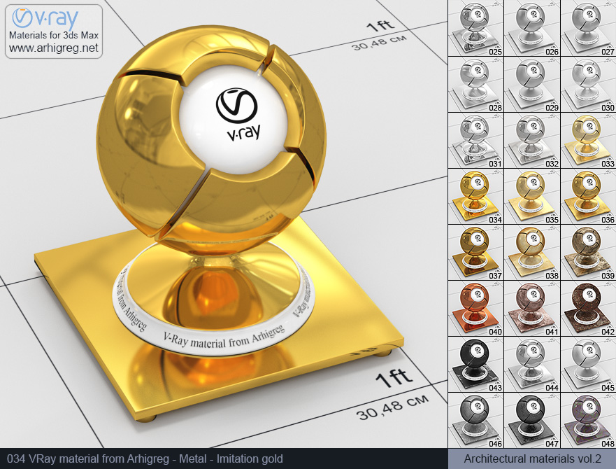 Vray material free download. Metal. Imitation gold (034)