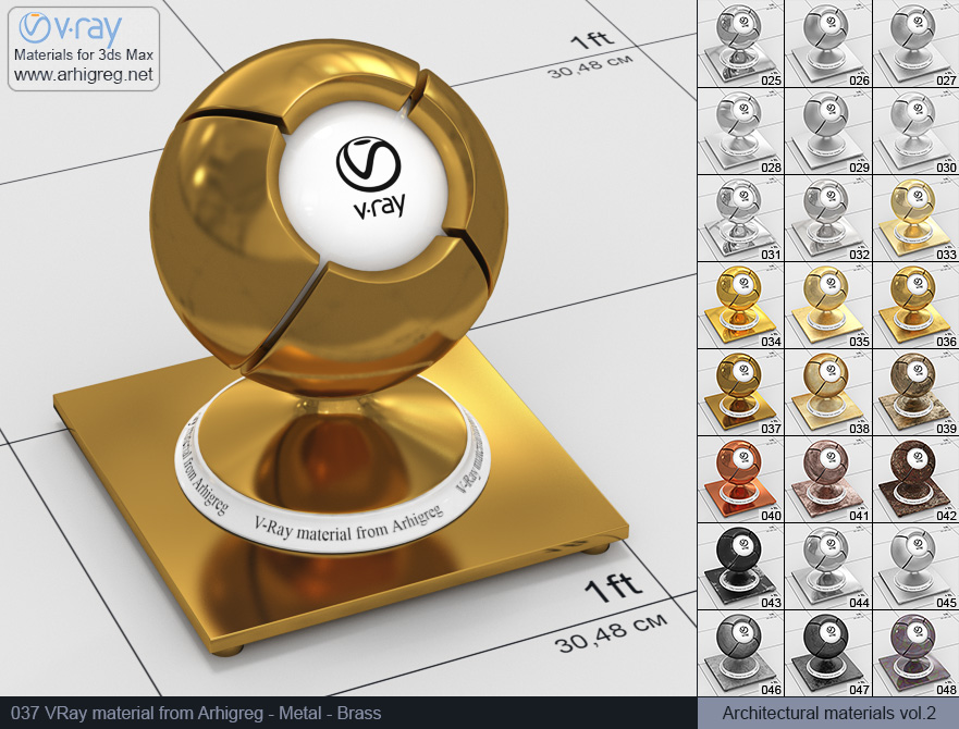 Vray material free download. Metal. Brass (037)