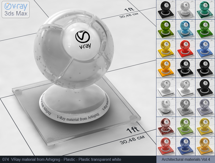 Vray plastic material free download - Transparent white plastic (074)