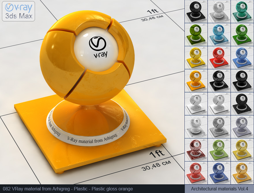 Vray plastic material free download - Glossy orange plastic (082)