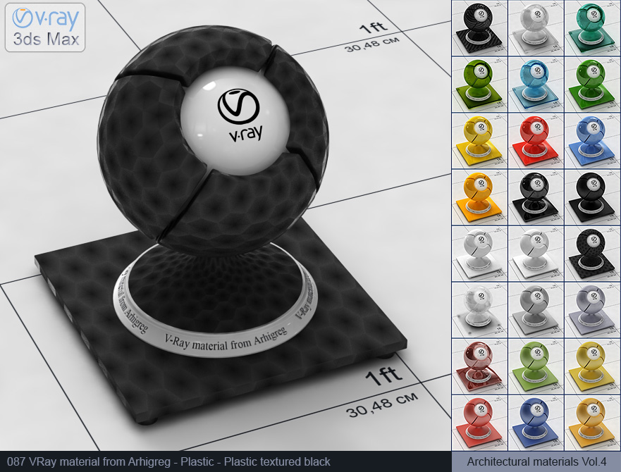 Vray plastic material free download - Textured black plastic (087)