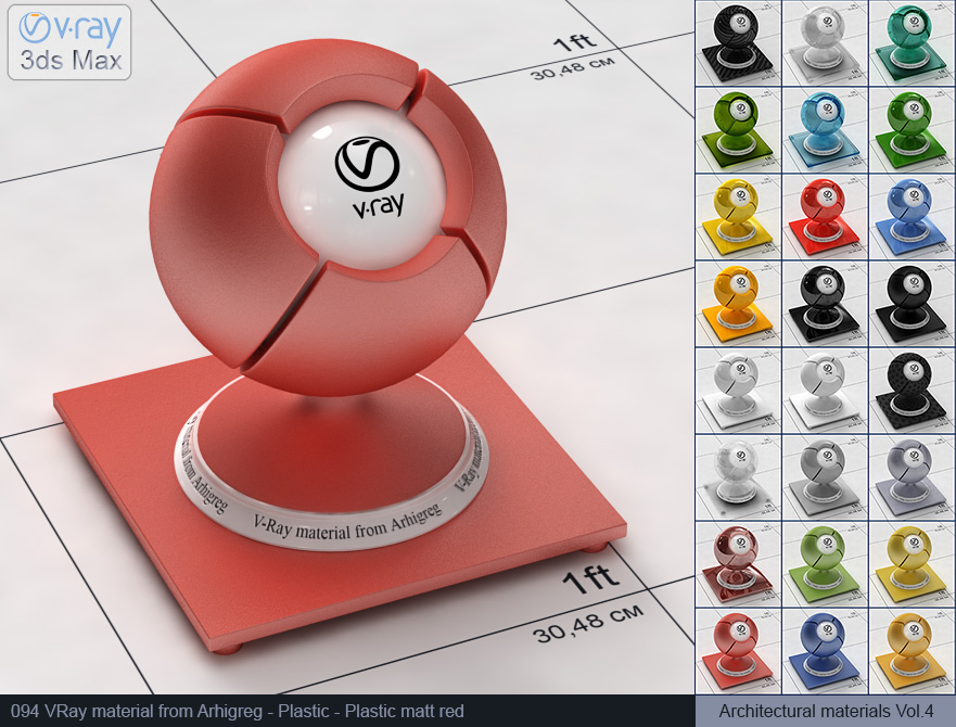 Vray plastic material free download - Matte red plastic (094)