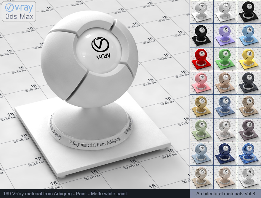 Vray material free download - Matte white paint (169)