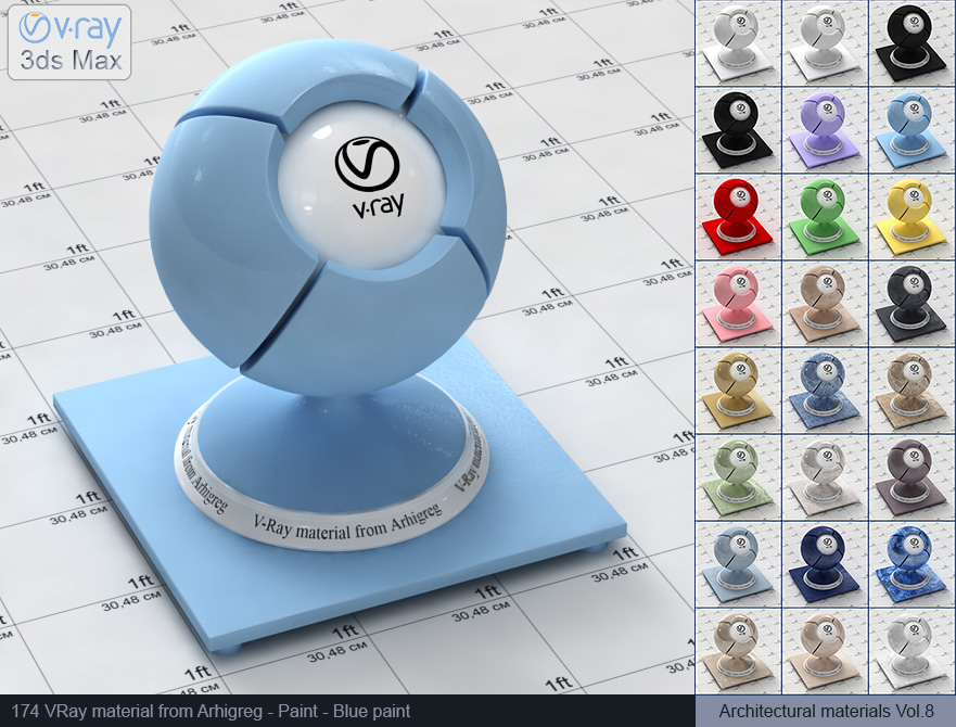 Vray material free download - Blue paint (174)