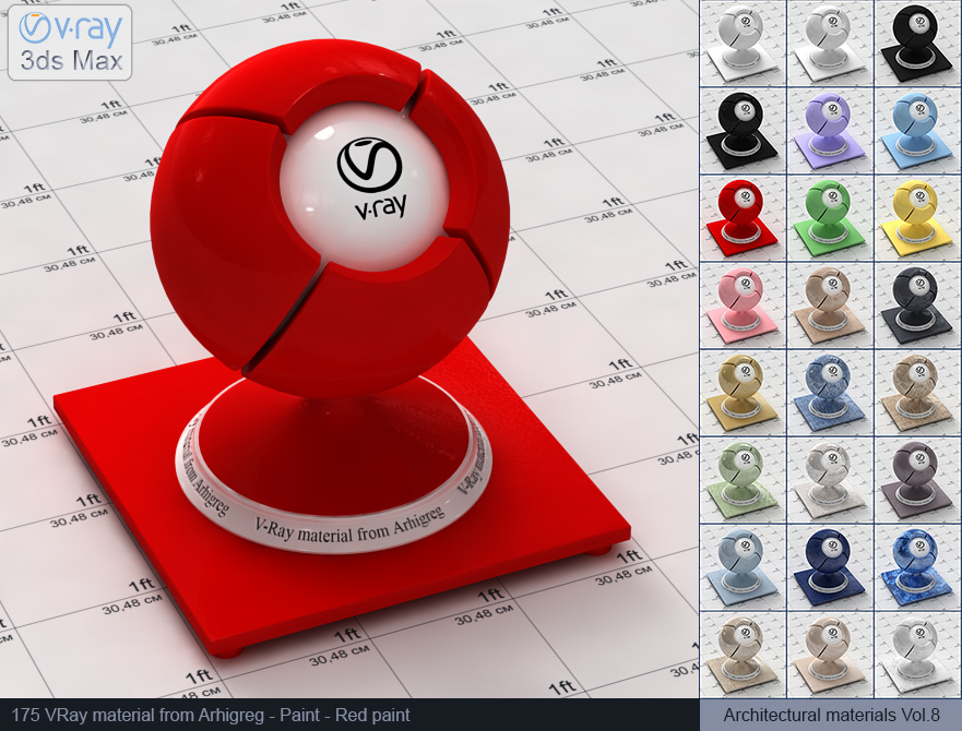 Vray material free download - Red paint (175)