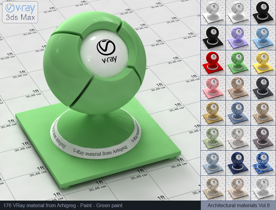 Vray material free download - Green paint (176)