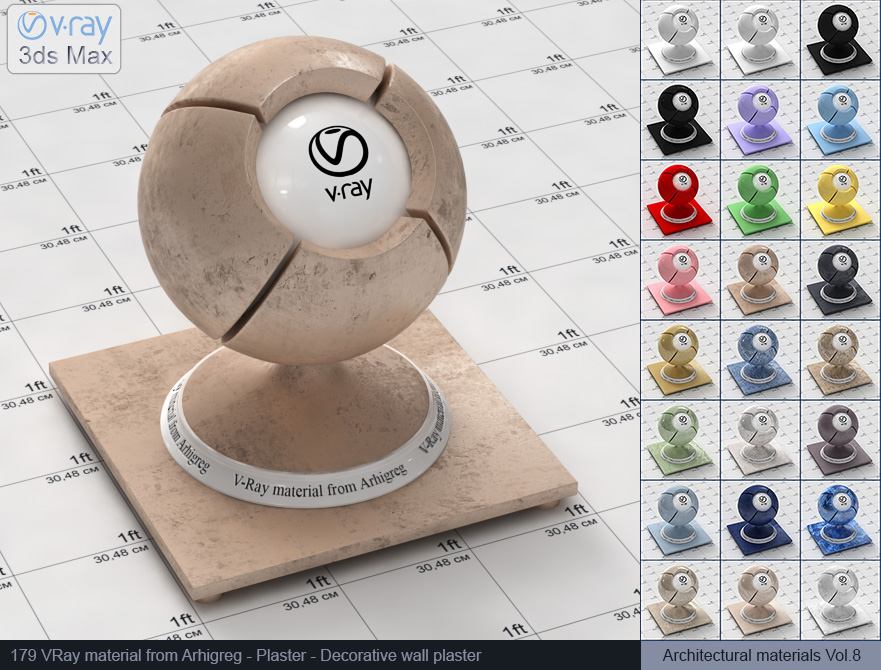 Vray material free download - Decorative wall plaster (179)