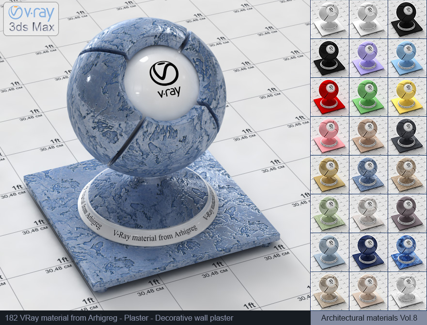 Vray material free download - Decorative wall plaster (182)