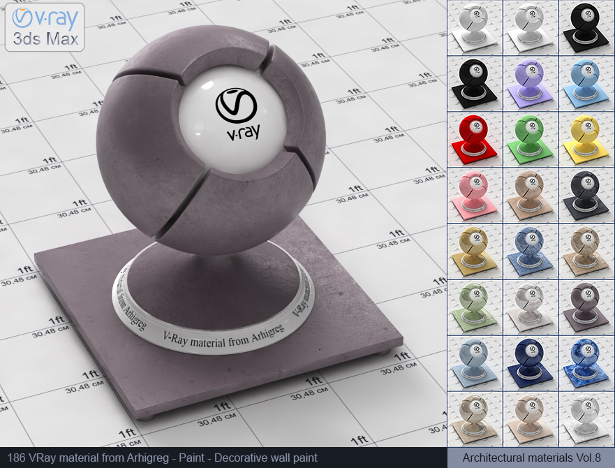 Vray material free download - Decorative wall plaster (186)