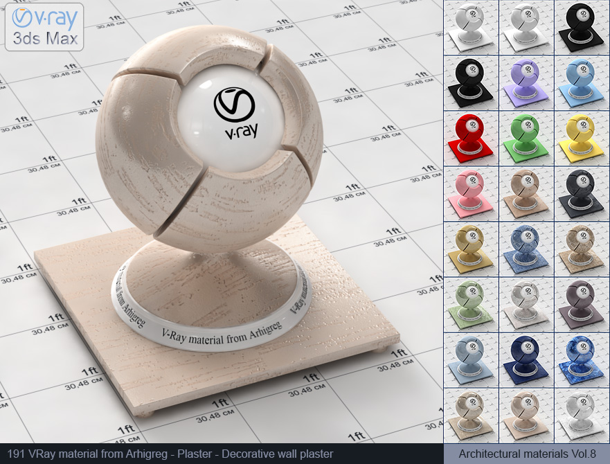 Vray material free download - Decorative wall plaster (191)