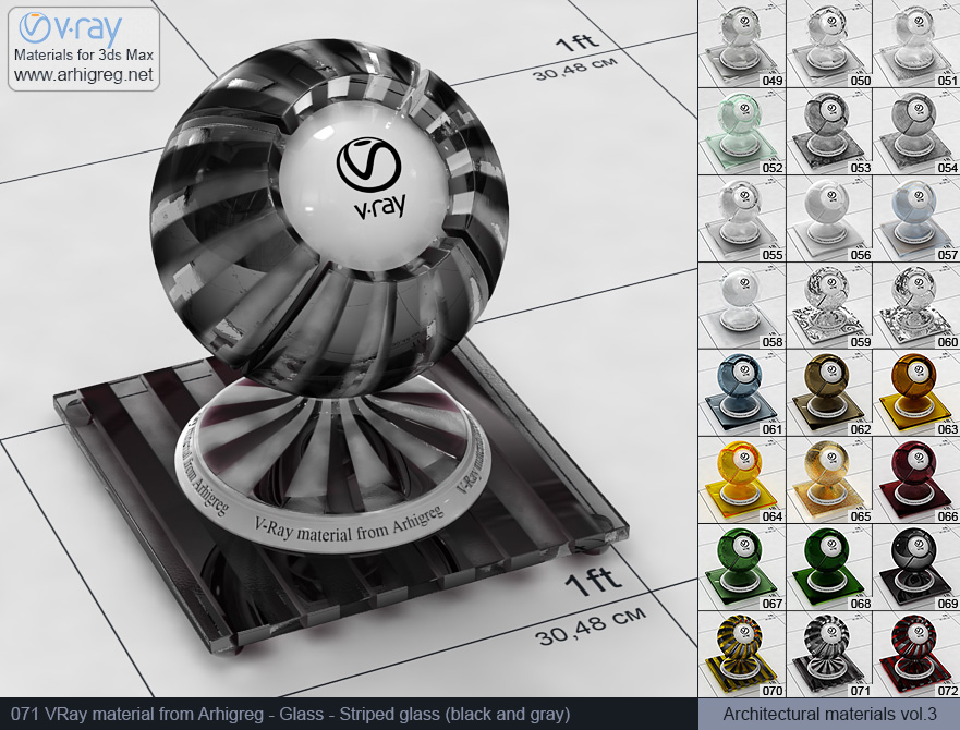 Vray material free download. Glass. Striped glass (black and gray) (071)